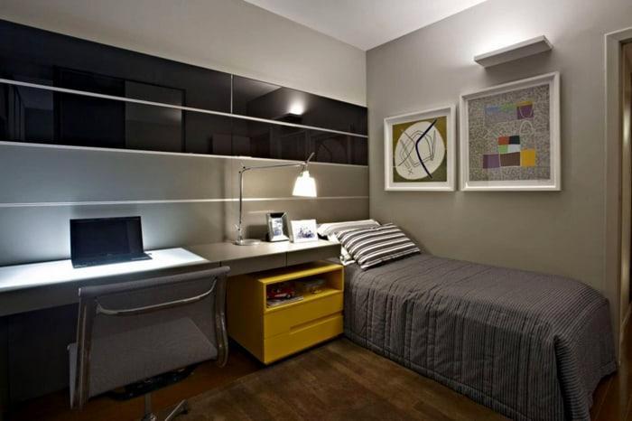 Móveis planejados e decoração moderno no quarto de solteiro.