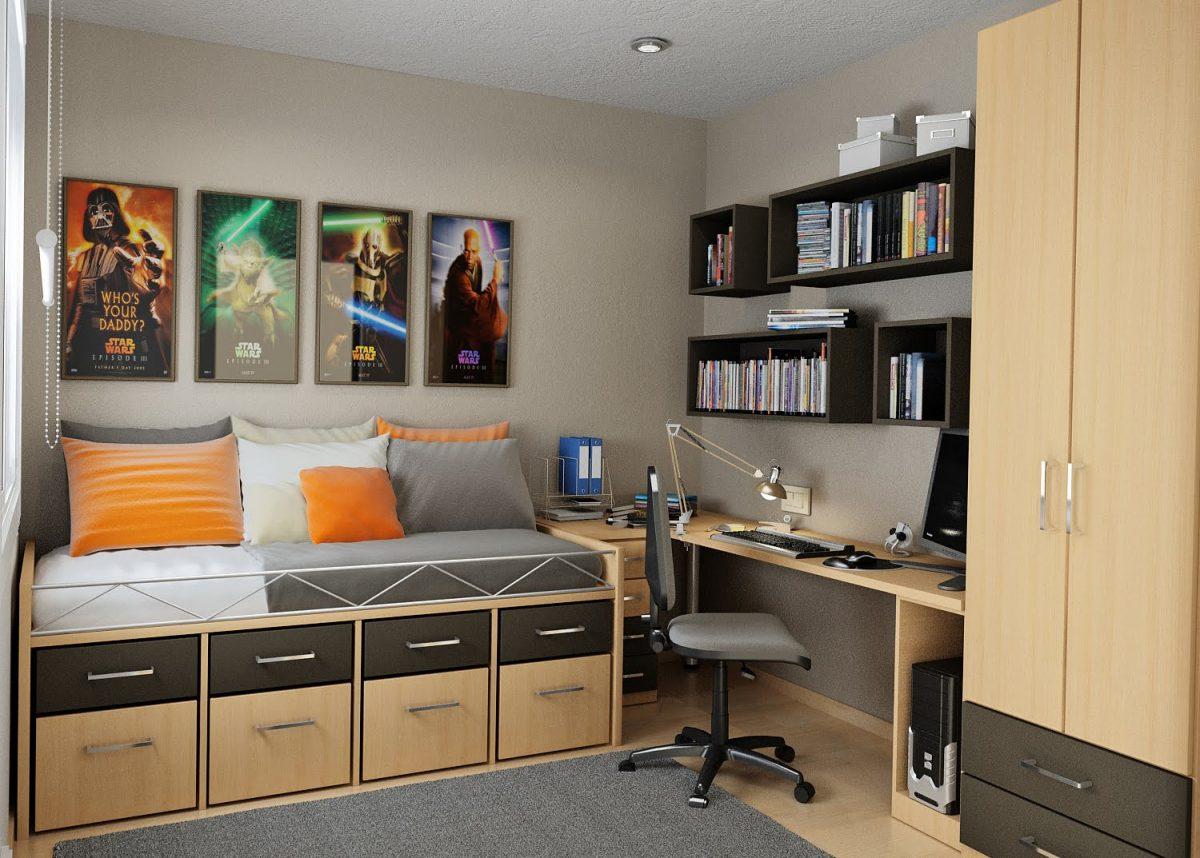 Quarto planejado com cama de madeira e gavetas duplas.