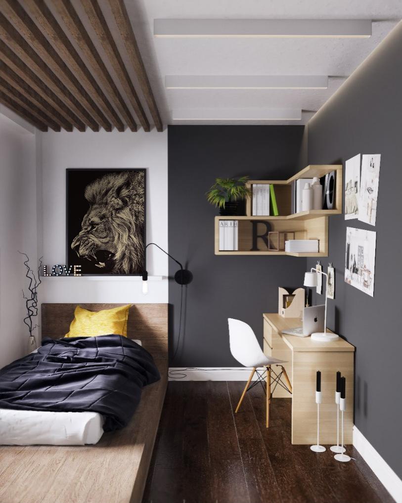 Quarto de solteiro com decoração simples e e parede cinza.