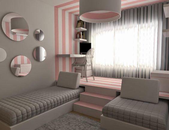quarto de menina rosa e cinza