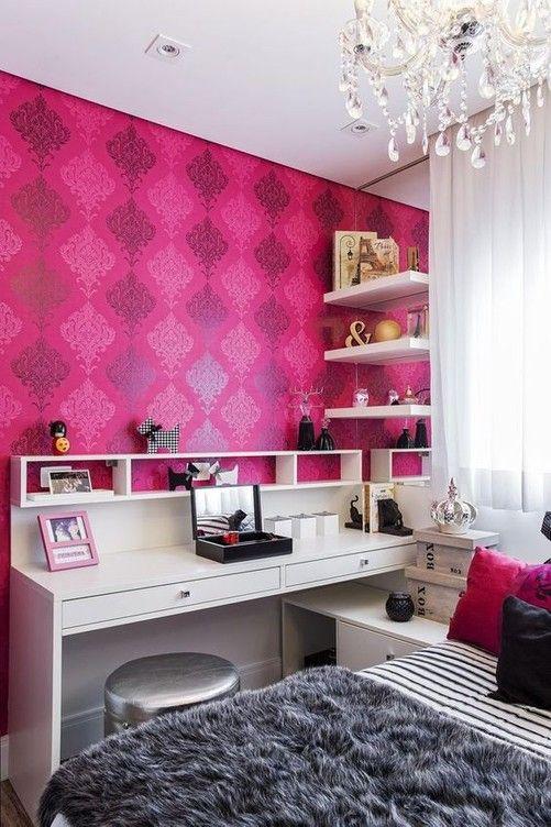 quarto feminino pink com papel de parede