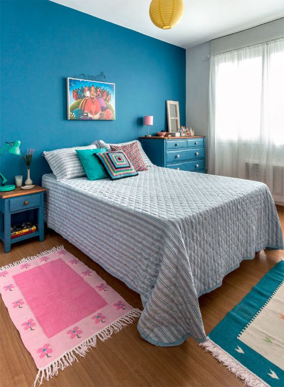 quarto feminino azul indiano.