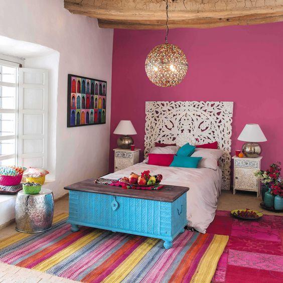 quarto feminino pink com azul e branco