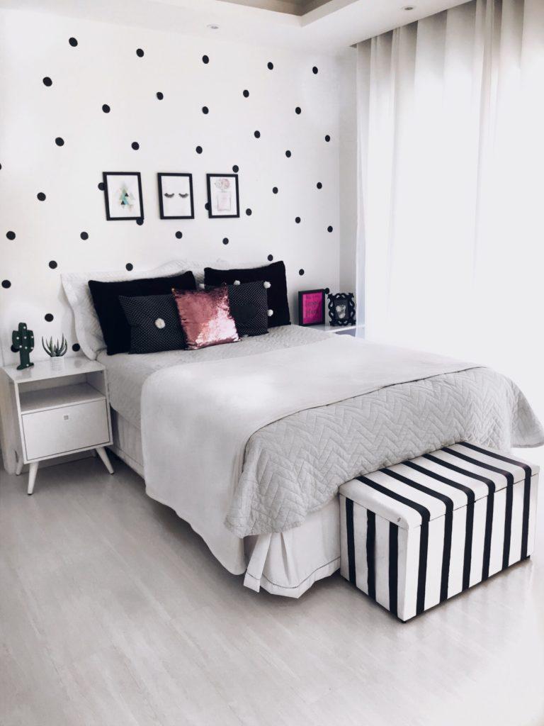 quarto feminino branco e preto