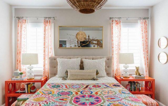 quarto feminino colorido e branco