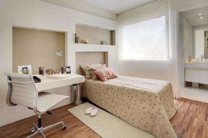 quarto feminino solteiro neutro parede capuccino