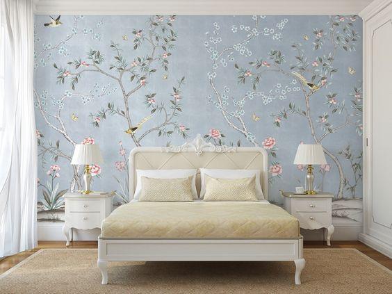 quarto feminino romântico azul