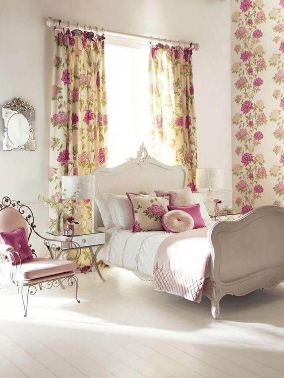 quarto romântico flora vintage