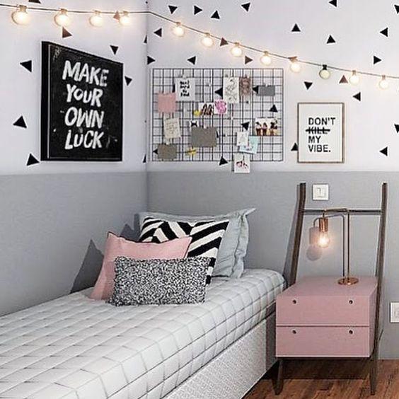 quarto tumbrl adolescente preto, rosa e cinza