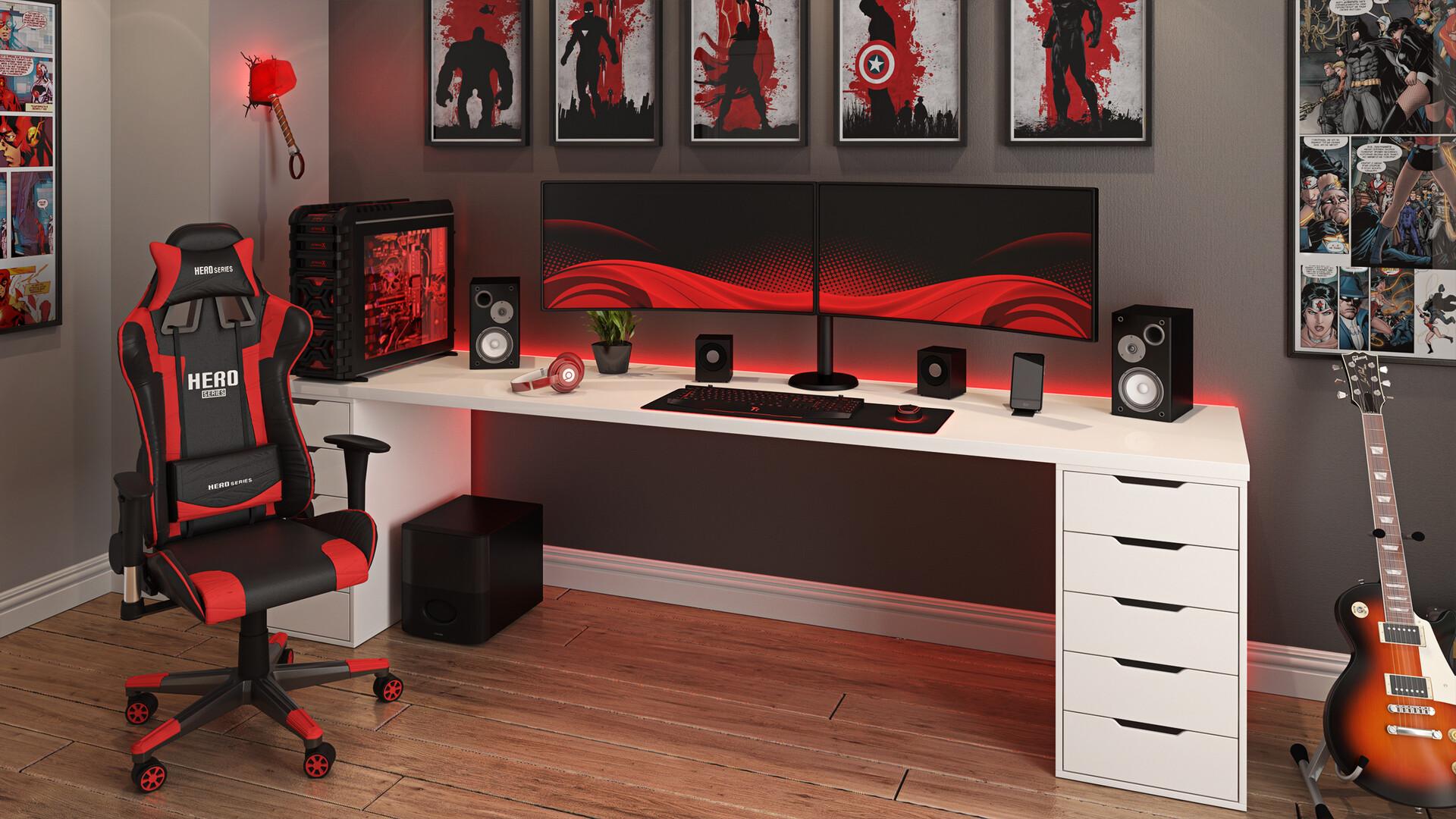 Setup gamer vermelho.