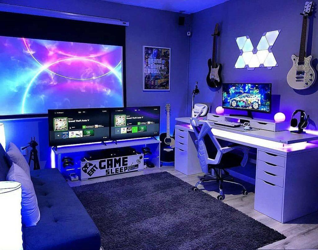 Quarto gamer completo e com projeto de iluminação