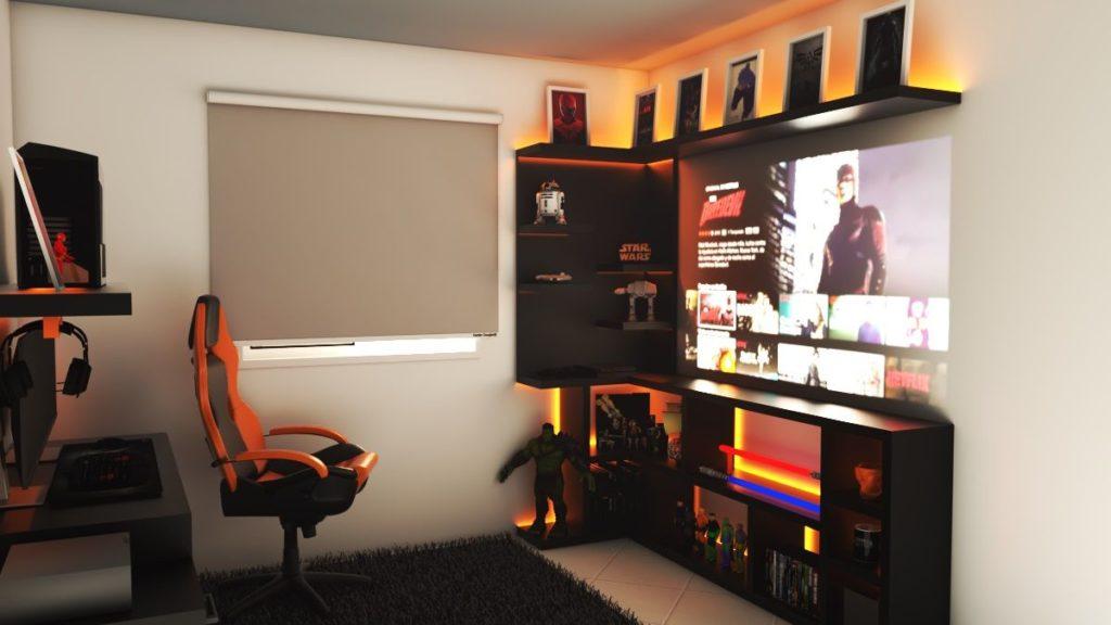 Setup gamer com projeção e luz laranja.