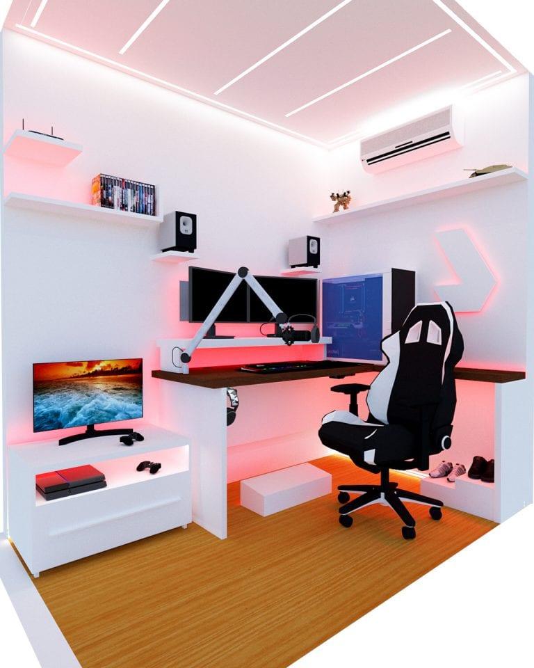 Setup gamer com decoração branca e moderna.