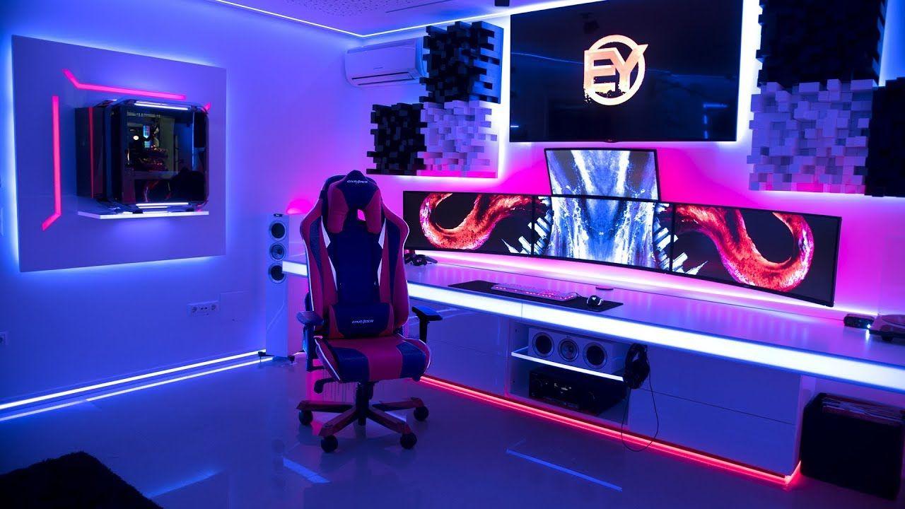 Setup gamer moderno e futurista.