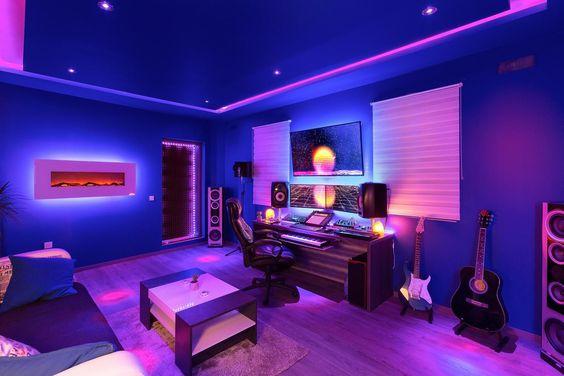 Projeto de iluminação de sala gamer.