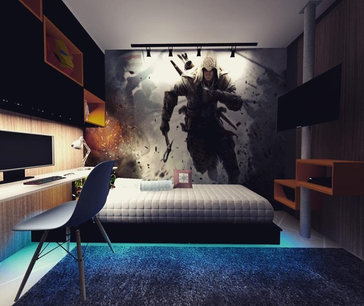 Quarto gamer com pintura Assassin's Creed.