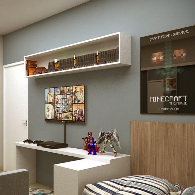 Quarto gamer com decoração Minecraft.