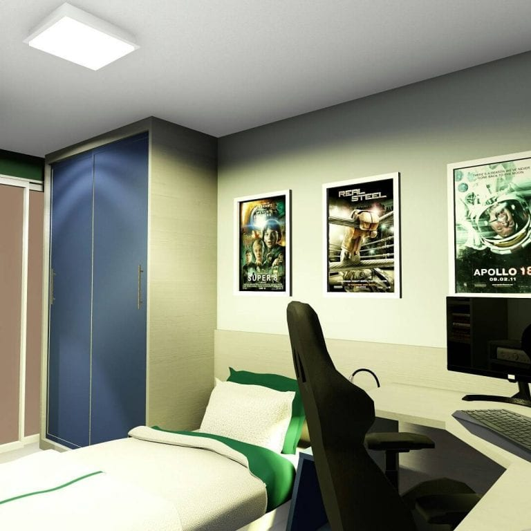 Quarto decorado com posteres de jogos e filmes.