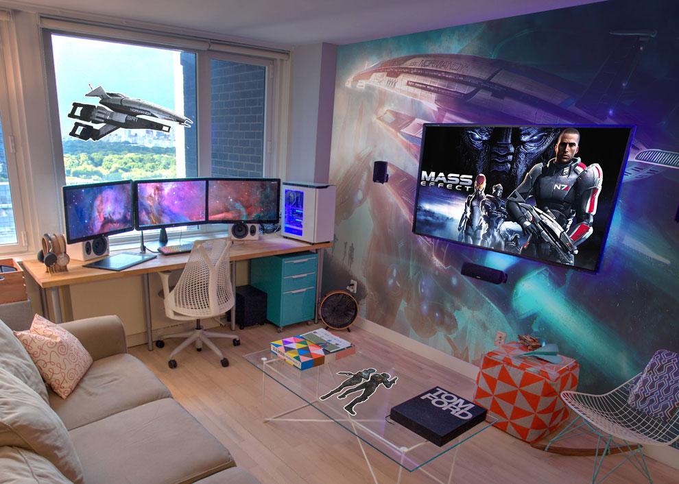 Quarto gamer Mass Effect.