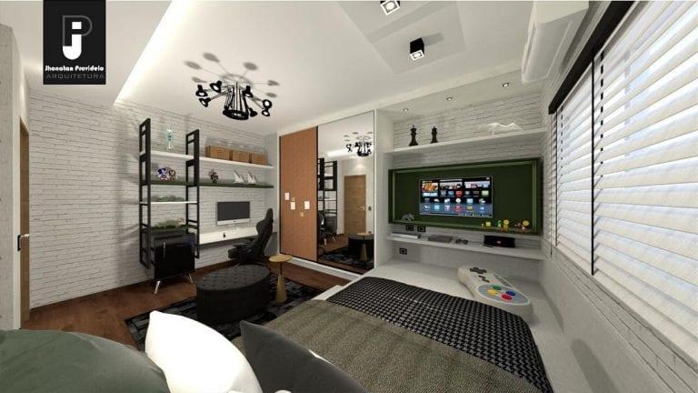 Projeto de decoração de quarto gamer minimalista e sofisticado.
