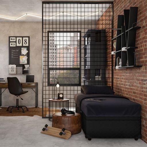 quarto masculino industrial com grade de ferro