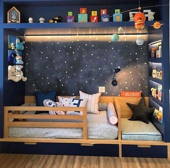 quarto de criança menino azul com estrelas