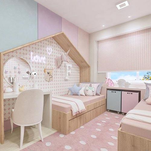 quarto infantil planejado de menina com neon
