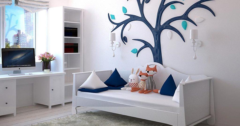 quarto de menino branco e azul com marcenaria inteligente