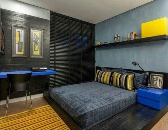 quarto moderno azul e amarelo masculino