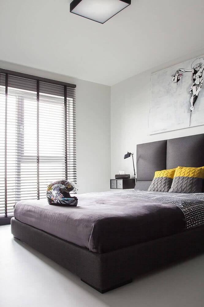 quarto masculino neutro, cinza , preto e amarelo