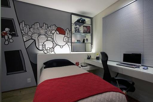 quarto masculino com painel de grafite