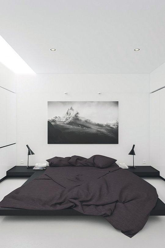 quarto masculino minimalista branco e preto