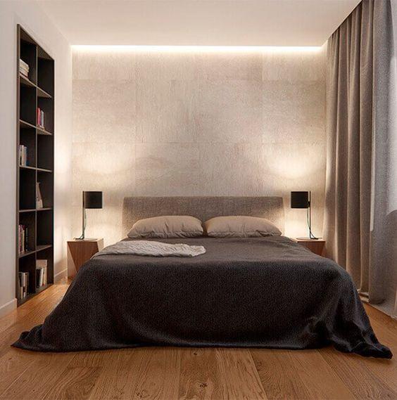 quarto minimalista com teto rebaixado