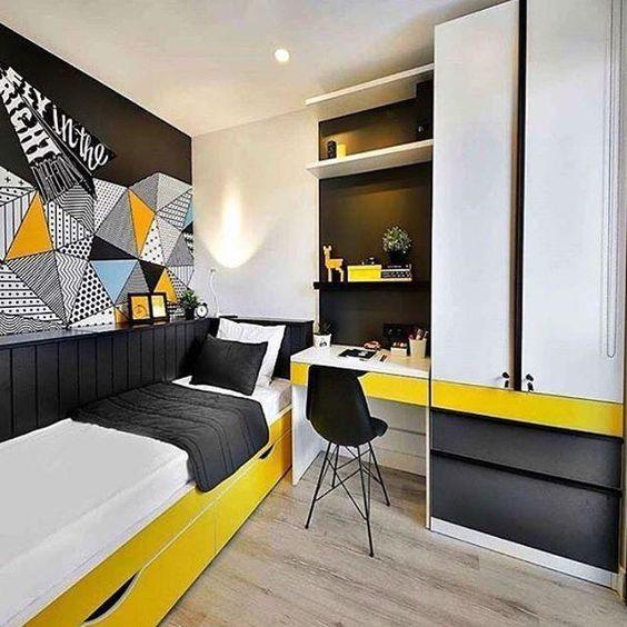 quarto masculino preto e amarelo.
