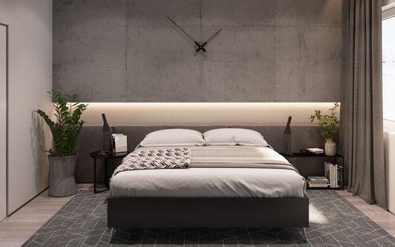 quarto masculino minimalista com relógio