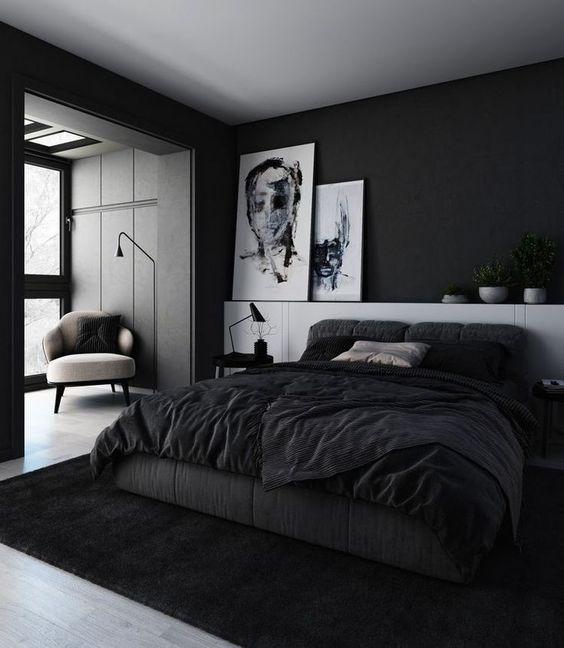 quarto masculino preto e branco