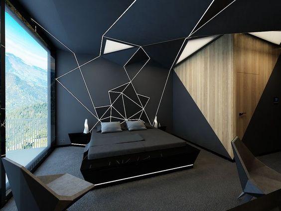 quarto com trabalho geométrico preto