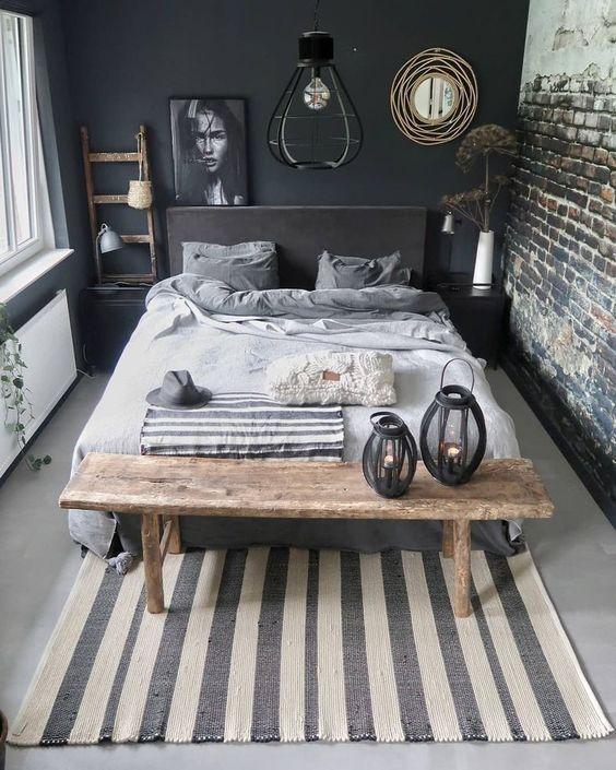 quarto masculino rústico com parede e tijolinho aparente preto