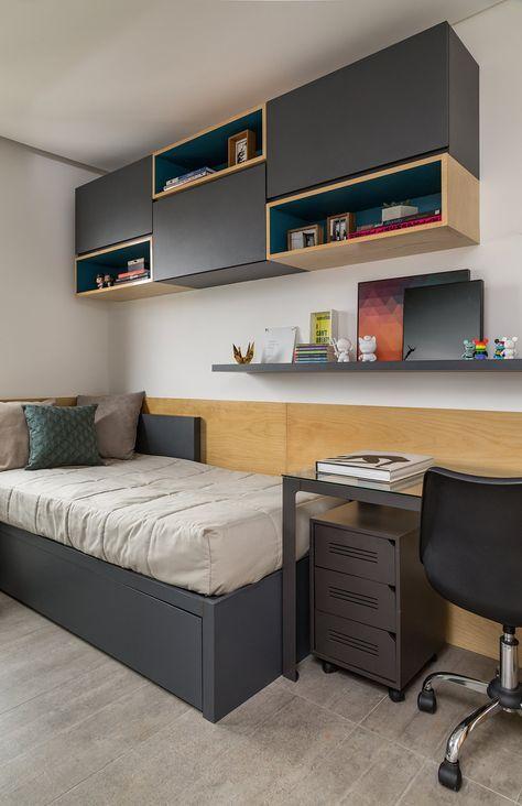 quarto masculino  madeira e cinza