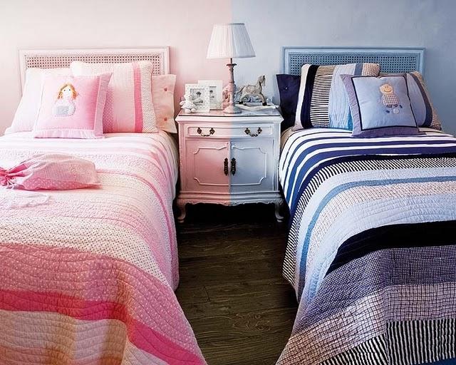 quarto menina e menino crianças azul e rosa
