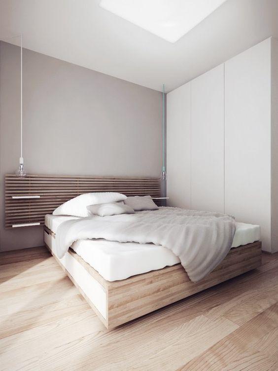 quarto minimalista masculino branco e cinza