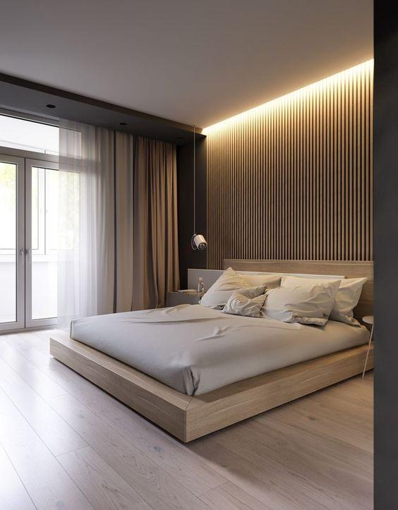 quarto grande masculino minimalista