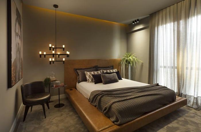 Decoração de quarto moderno com couro.