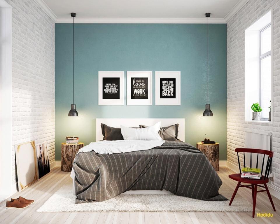 Quarto moderno com decoração escandinava e parede de tijolinho branco.