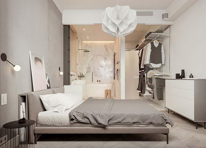 Decoração escandinava e minimalista com lustre geométrico.