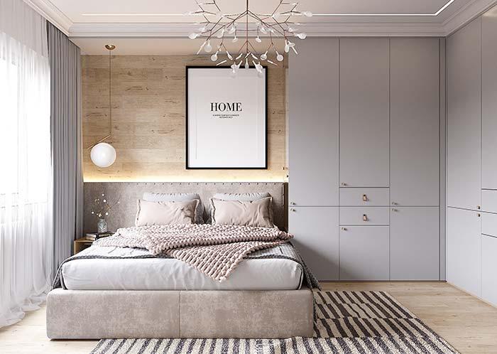 Decoração escandinava e minimalista com lustre moderno.