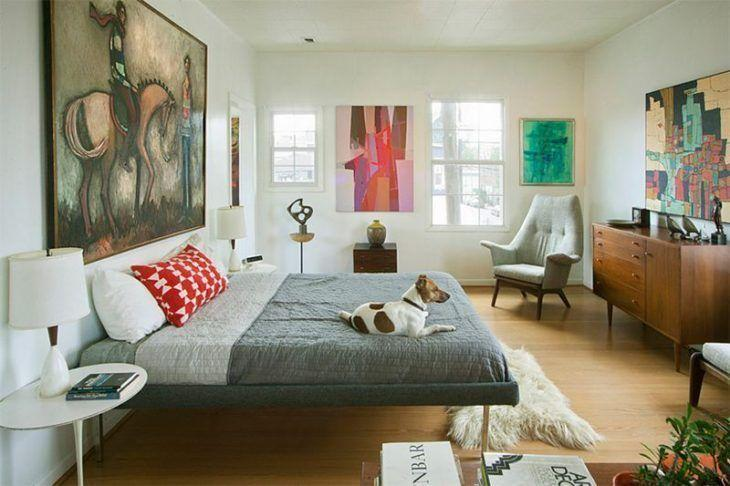 Decoração com cama com design diferenciado.