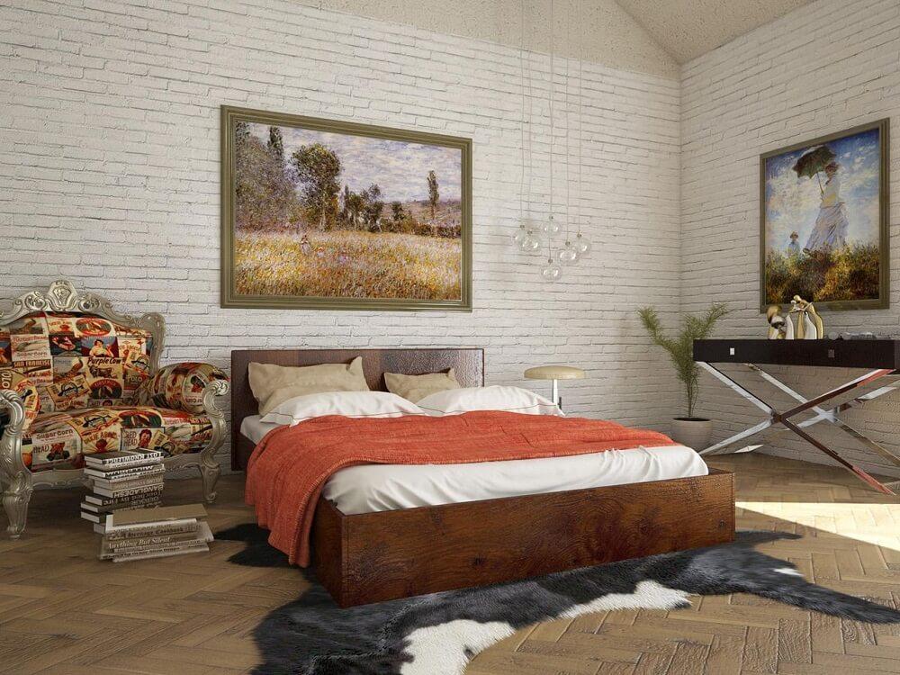 Quarto moderno com móveis rústicos e parede de tijolinho branco.
