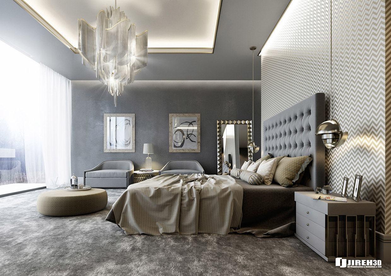 Quarto moderno e luxuoso com lustre sofisticado.