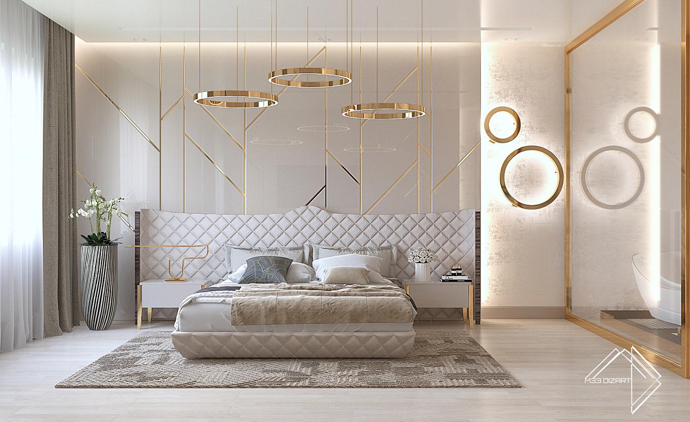 Decoração luxuosa com elementos geométricos e dourados.